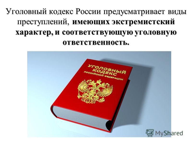 Уголовный кодекс России предусматривает виды преступлений, имеющих экстремистский характер, и соответствующую уголовную ответственность.