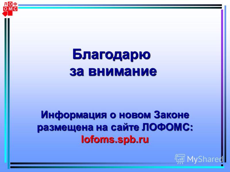 Благодарю за внимание Информация о новом Законе размещена на сайте ЛОФОМС: lofoms.spb.ru