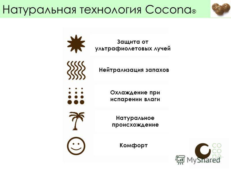 Confidental Натуральная технология Cocona ® Защита от ультрафиолетовых лучей Нейтрализация запахов Охлаждение при испарении влаги Натуральное происхождение Комфорт