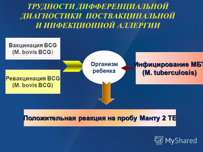 Вакцинация BCG (М. bovis BCG) Ревакцинация BCG (М. bovis BCG) Организм ребенка Инфицирование МБТ (М. tuberculosis) Положительная реакция на пробу Манту 2 ТЕ