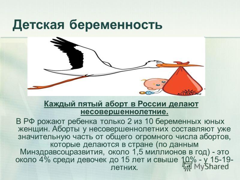 Детская беременность Каждый пятый аборт в России делают несовершеннолетние. В РФ рожают ребенка только 2 из 10 беременных юных женщин. Аборты у несовершеннолетних составляют уже значительную часть от общего огромного числа абортов, которые делаются в