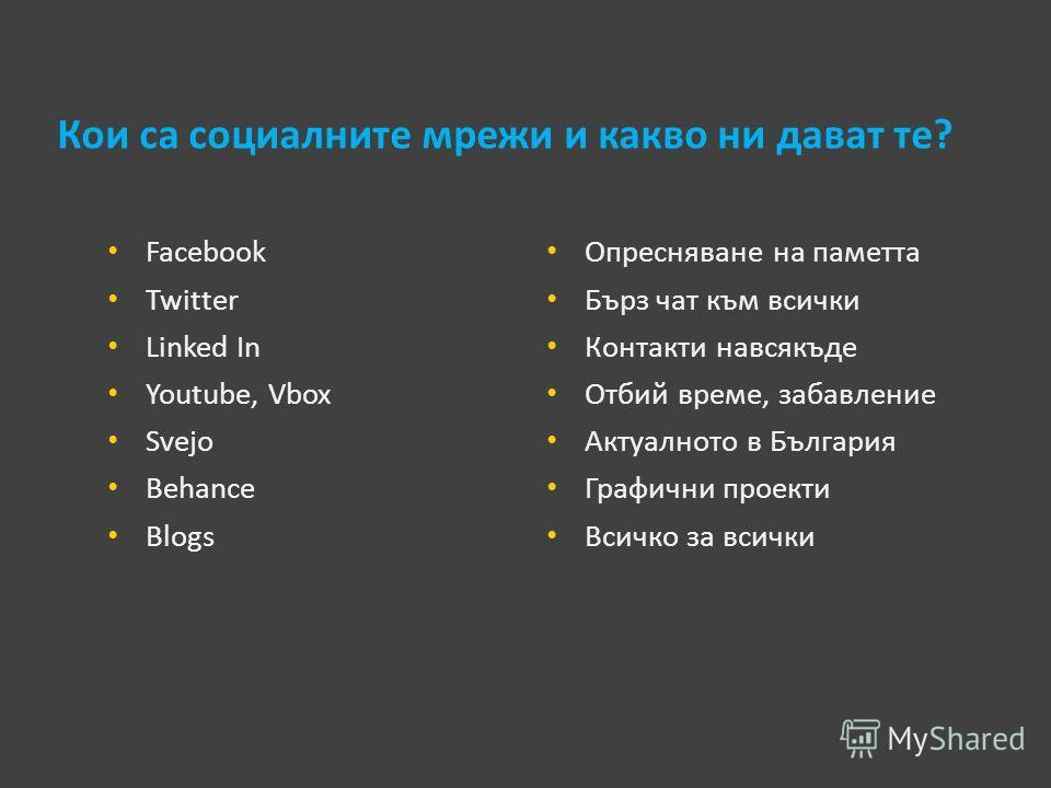 Кои са социалните мрежи и какво ни дават те? Facebook Twitter Linked In Youtube, Vbox Svejo Behance Blogs Опресняване на паметта Бърз чат към всички Контакти навсякъде Отбий време, забавление Актуалното в България Графични проекти Всичко за всички