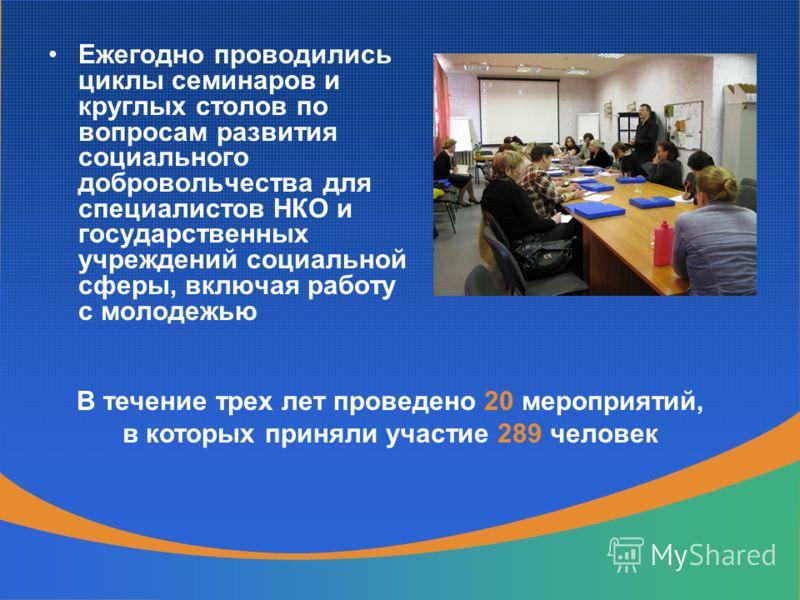 Ежегодно проводились циклы семинаров и круглых столов по вопросам развития социального добровольчества для специалистов НКО и государственных учреждений социальной сферы, включая работу с молодежью В течение трех лет проведено 20 мероприятий, в котор