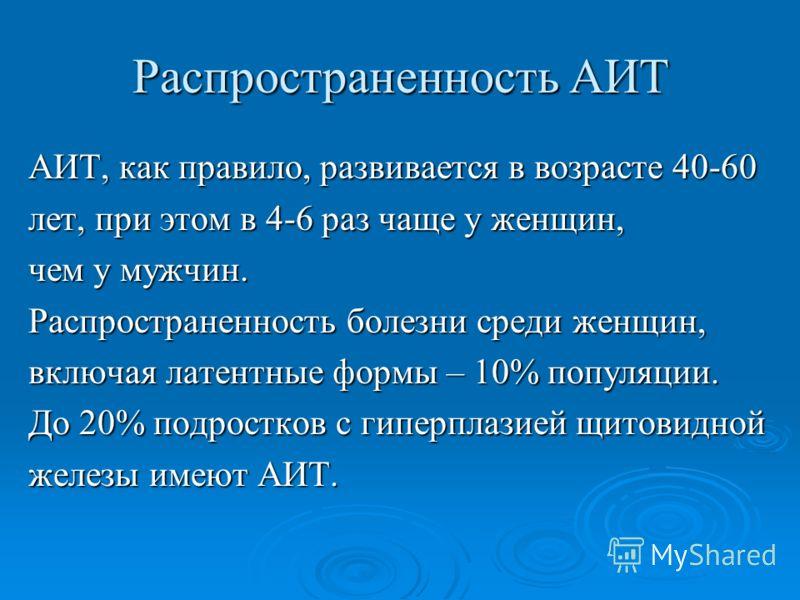 Распространенность АИТ АИТ, как правило, развивается в возрасте 40-60 лет, при этом в 4-6 раз чаще у женщин, чем у мужчин. Распространенность болезни среди женщин, включая латентные формы – 10% популяции. До 20% подростков с гиперплазией щитовидной ж