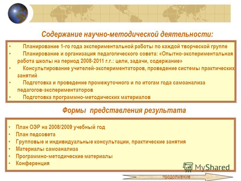 Содержание научно-методической деятельности: Планирование 1-го года экспериментальной работы по каждой творческой группе Планирование и организация педагогического совета: «Опытно-экспериментальная работа школы на период 2008-2011 г.г.: цели, задачи,