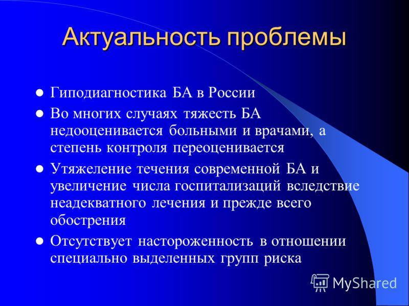 Актуальность проблемы Гиподиагностика БА в России Во многих случаях тяжесть БА недооценивается больными и врачами, а степень контроля переоценивается Утяжеление течения современной БА и увеличение числа госпитализаций вследствие неадекватного лечения
