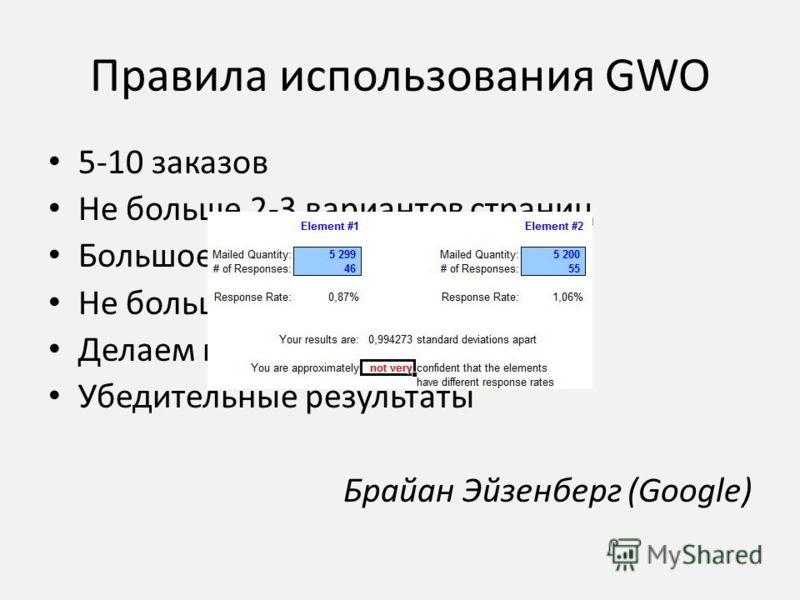 Правила использования GWO 5-10 заказов Не больше 2-3 вариантов страниц Большое количество контактов Не больше 6 недель Делаем паузы и повторы Убедительные результаты Брайан Эйзенберг (Google)