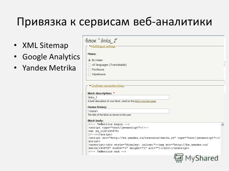 Привязка к сервисам веб-аналитики XML Sitemap Google Analytics Yandex Metrika