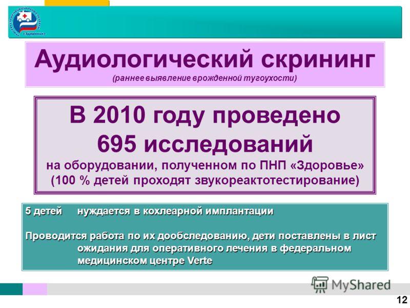 Аудиологический скрининг (раннее выявление врожденной тугоухости) 12 В 2010 году проведено 695 исследований на оборудовании, полученном по ПНП «Здоровье» (100 % детей проходят звукореактотестирование) 5 детейнуждается в кохлеарной имплантации Проводи