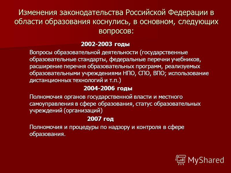 Изменения законодательства Российской Федерации в области образования коснулись, в основном, следующих вопросов: 2002-2003 годы 2002-2003 годы Вопросы образовательной деятельности (государственные образовательные стандарты, федеральные перечни учебни