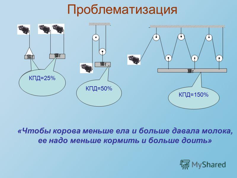 Проблематизация КПД=25% КПД=50% КПД=150% «Чтобы корова меньше ела и больше давала молока, ее надо меньше кормить и больше доить»