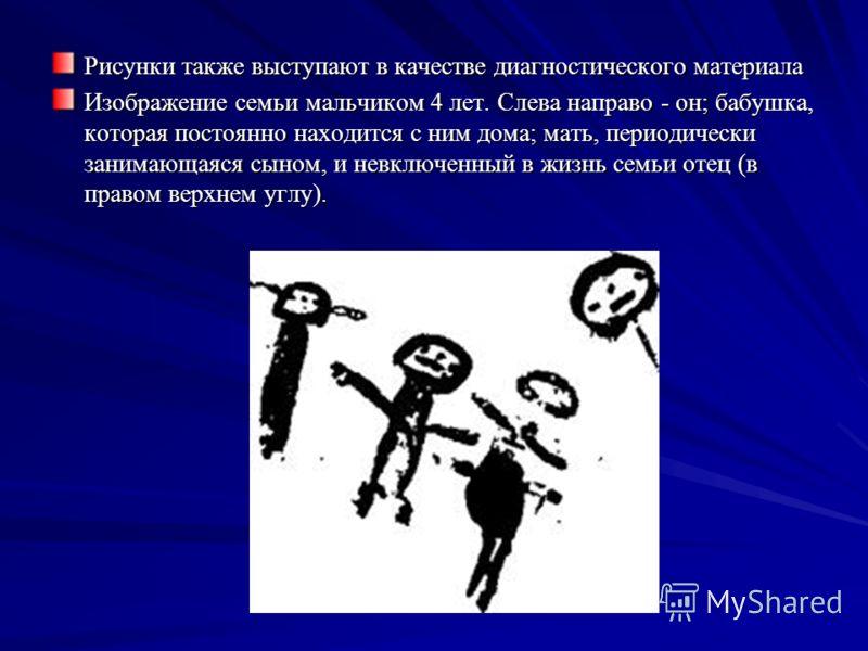 Рисунки также выступают в качестве диагностического материала Изображение семьи мальчиком 4 лет. Слева направо - он; бабушка, которая постоянно находится с ним дома; мать, периодически занимающаяся сыном, и невключенный в жизнь семьи отец (в правом в