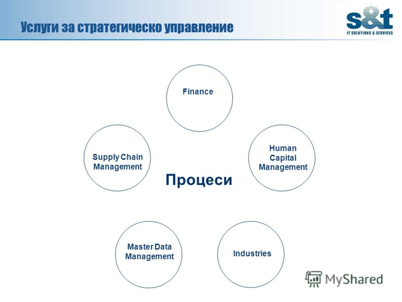 Услуги за стратегическо управление Процеси Finance Human Capital Management Industries Supply Chain Management Master Data Management