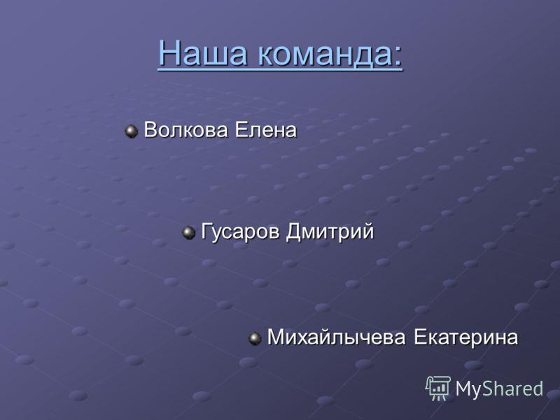 Наша команда: Волкова Елена Гусаров Дмитрий Михайлычева Екатерина