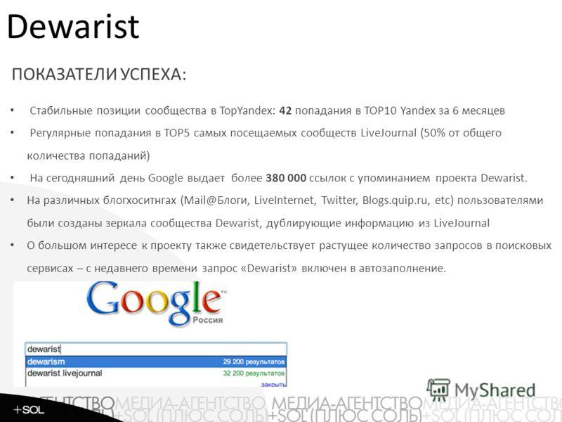 Рейтинги Стабильные позиции сообщества в TopYandex: 42 попадания в TOP10 Yandex за 6 месяцев Регулярные попадания в TOP5 самых посещаемых сообществ LiveJournal (50% от общего количества попаданий) На сегодняшний день Google выдает более 380 000 ссыло