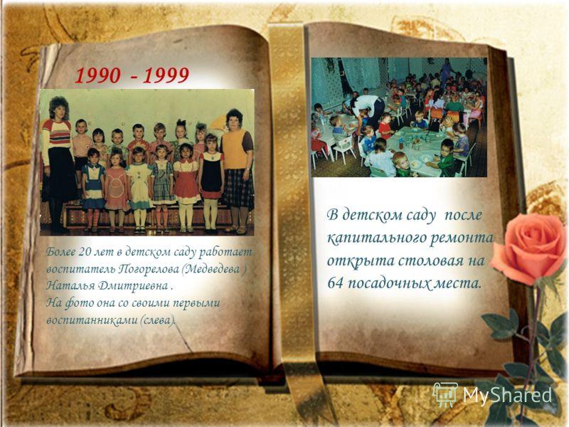 1986 -1989 Будни и праздники детского сада 1990 - 1999 Более 20 лет в детском саду работает воспитатель Погорелова (Медведева ) Наталья Дмитриевна. На фото она со своими первыми воспитанниками (слева). В детском саду после капитального ремонта открыт