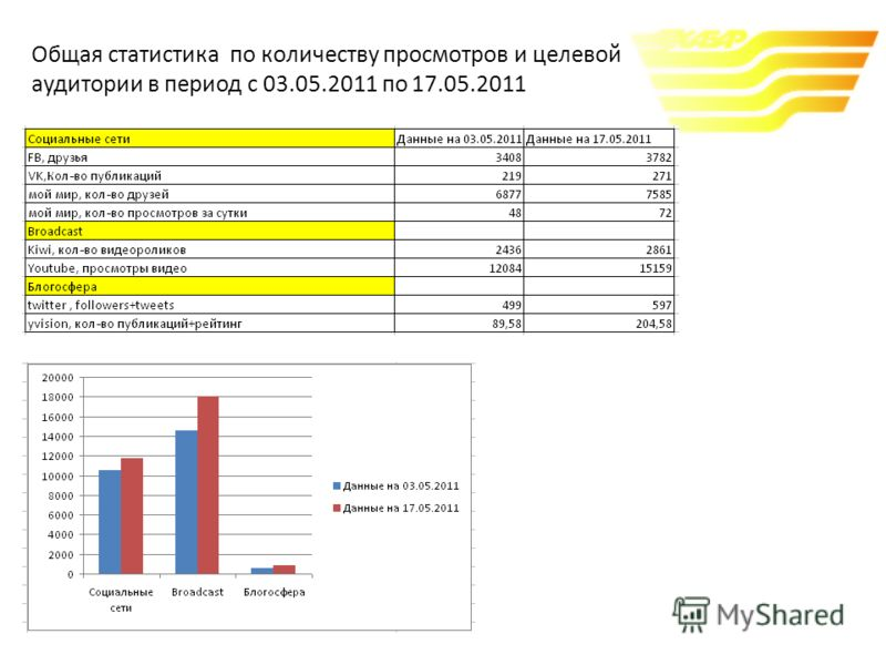 Общая статистика по количеству просмотров и целевой аудитории в период с 03.05.2011 по 17.05.2011