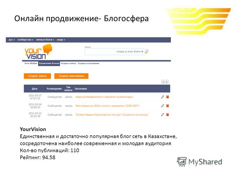 YourVision Единственная и достаточно популярная блог сеть в Казахстане, сосредоточена наиболее современная и молодая аудитория Кол-во публикаций: 110 Рейтинг: 94.58 Онлайн продвижение- Блогосфера