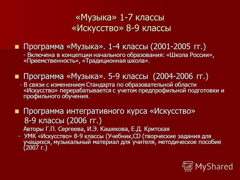 «Музыка» 1-7 классы «Искусство» 8-9 классы Программа «Музыка». 1-4 классы (2001-2005 гг.) Программа «Музыка». 1-4 классы (2001-2005 гг.) - Включена в концепции начального образования: «Школа России», «Преемственность», «Традиционная школа». - Включен