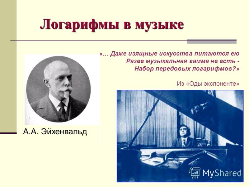 Логарифмы в музыке А.А. Эйхенвальд «… Даже изящные искусства питаются ею Разве музыкальная гамма не есть - Набор передовых логарифмов?» Из «Оды экспоненте»