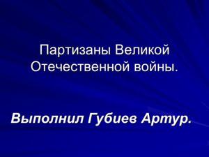 Партизаны Великой Отечественной войны. Выполнил Губиев Артур.