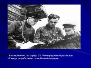 Командование 2-го отряда 3-й Ленинградской партизанской бригады разрабатывает план боевой операции