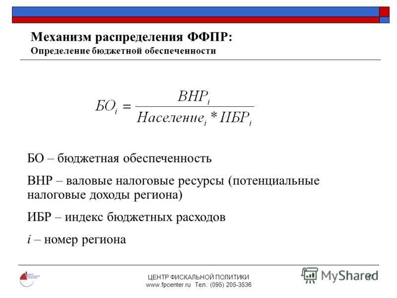 ЦЕНТР ФИСКАЛЬНОЙ ПОЛИТИКИ www.fpcenter.ru Тел.: (095) 205-3536 47 Механизм распределения ФФПР: Определение бюджетной обеспеченности БО – бюджетная обеспеченность ВНР – валовые налоговые ресурсы (потенциальные налоговые доходы региона) ИБР – индекс бю