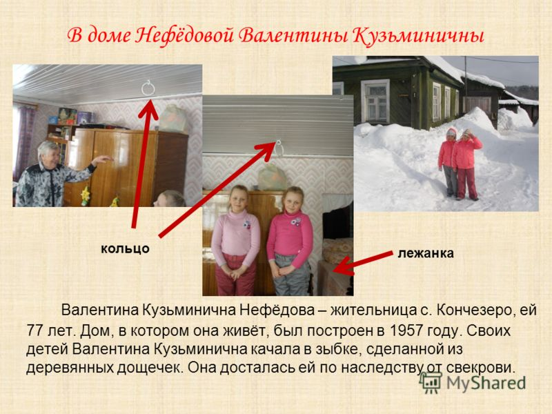 В доме Нефёдовой Валентины Кузьминичны Валентина Кузьминична Нефёдова – жительница с. Кончезеро, ей 77 лет. Дом, в котором она живёт, был построен в 1957 году. Своих детей Валентина Кузьминична качала в зыбке, сделанной из деревянных дощечек. Она дос