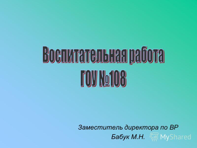 Заместитель директора по ВР Бабук М.Н.