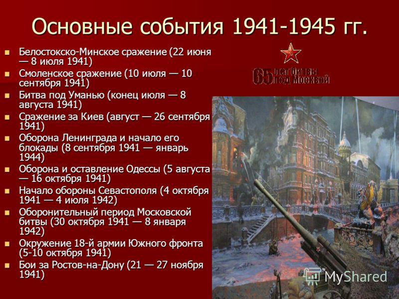 Основные события 1941-1945 гг. Белостокско-Минское сражение (22 июня 8 июля 1941) Белостокско-Минское сражение (22 июня 8 июля 1941) Смоленское сражение (10 июля 10 сентября 1941) Смоленское сражение (10 июля 10 сентября 1941) Битва под Уманью (конец