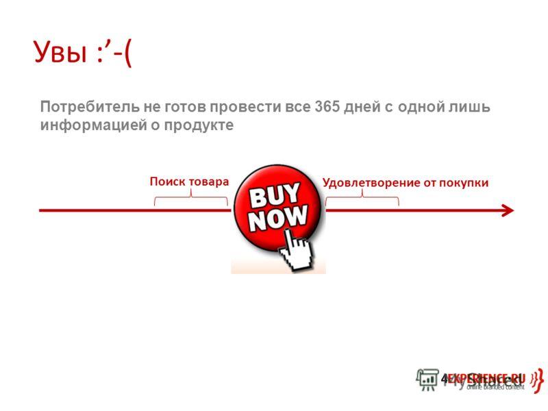 Увы :-( Поиск товара Удовлетворение от покупки Потребитель не готов провести все 365 дней с одной лишь информацией о продукте