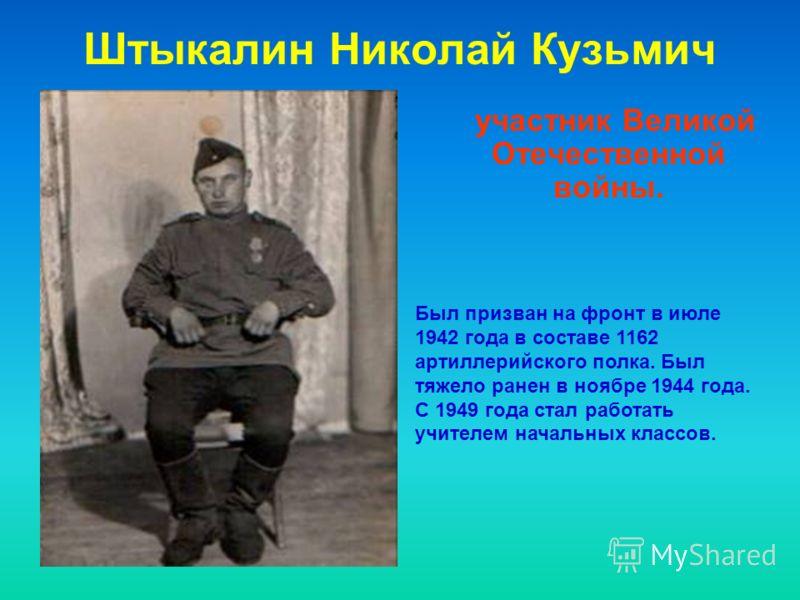 участник Великой Отечественной войны. Был призван на фронт в июле 1942 года в составе 1162 артиллерийского полка. Был тяжело ранен в ноябре 1944 года. С 1949 года стал работать учителем начальных классов.