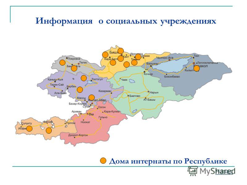 Дома интернаты по Республике Информация о социальных учреждениях Назад