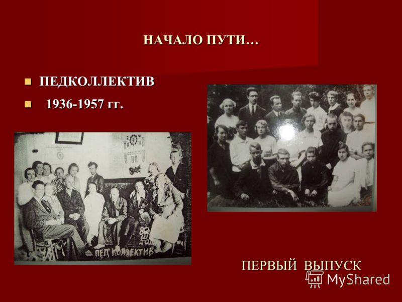 НАЧАЛО ПУТИ… ПЕРВЫЙ ВЫПУСК ПЕДКОЛЛЕКТИВ ПЕДКОЛЛЕКТИВ 1936-1957 гг. 1936-1957 гг.