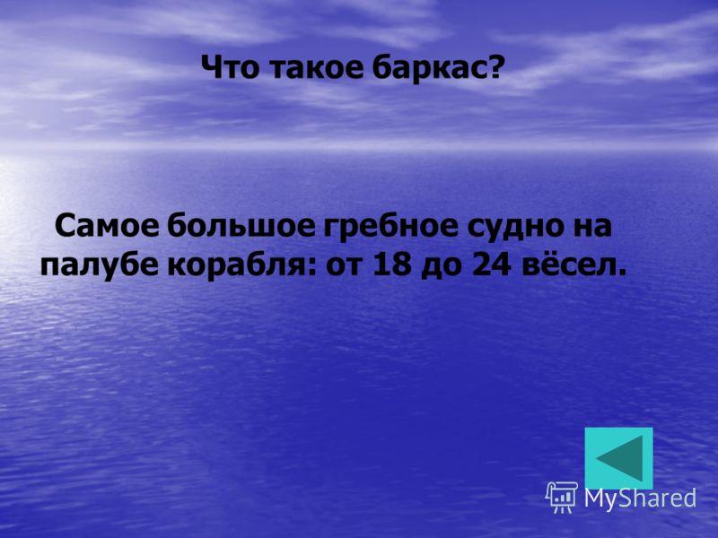 Что такое баркас? Самое большое гребное судно на палубе корабля: от 18 до 24 вёсел.