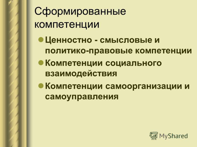 Сформированные компетенции Ценностно - смысловые и политико-правовые компетенции Компетенции социального взаимодействия Компетенции самоорганизации и самоуправления