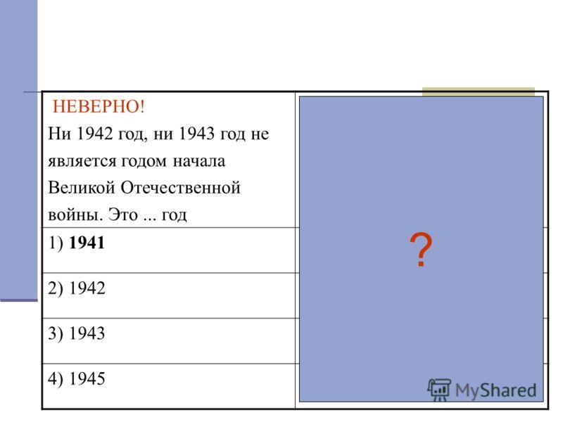 НЕВЕРНО! Ни 1942 год, ни 1943 год не является годом начала Великой Отечественной войны. Это... год ВЕРНО! Великая Отечественная война началась в... году 1) 1941 2) 1942 3) 1943 4) 1945 ?