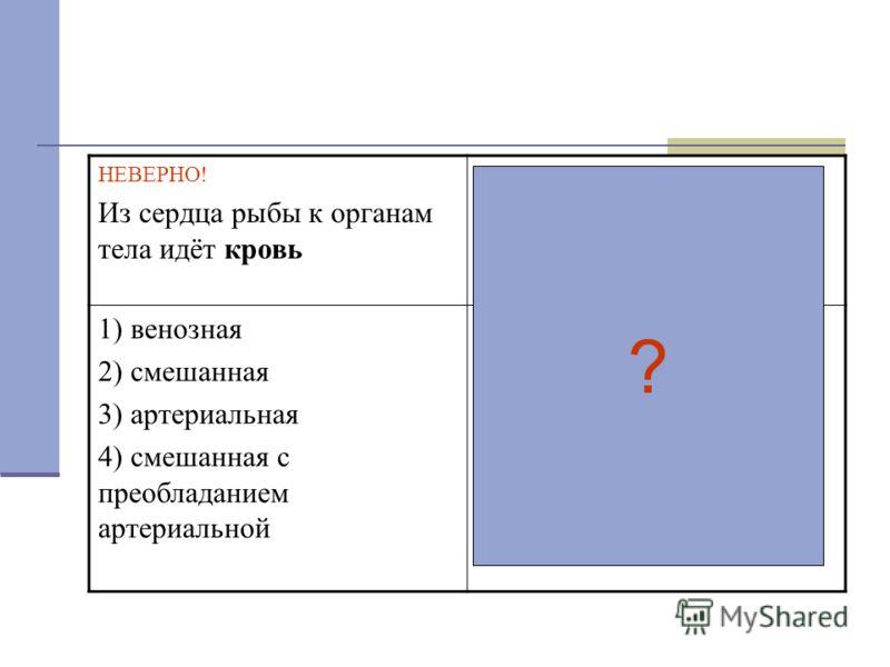 НЕВЕРНО! Из сердца рыбы к органам тела идёт кровь ВЕРНО! Кровь, идущая из сердца рыбы к органам тела называется.... 1) венозная 2) смешанная 3) артериальная 4) смешанная с преобладанием артериальной 1) венозная 2) смешанная 3) артериальная 4) смешан