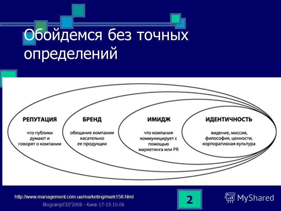 BlogcampCEE'2008 - Киев 17-19.10.06 2 Обойдемся без точных определений http://www.management.com.ua/marketing/mark158.html
