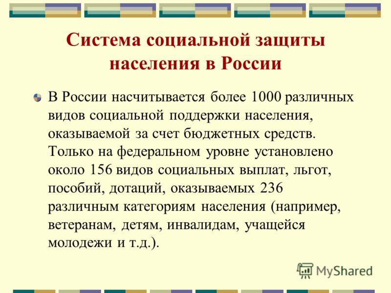 Система социальной защиты населения в России В России насчитывается более 1000 различных видов социальной поддержки населения, оказываемой за счет бюджетных средств. Только на федеральном уровне установлено около 156 видов социальных выплат, льгот, п