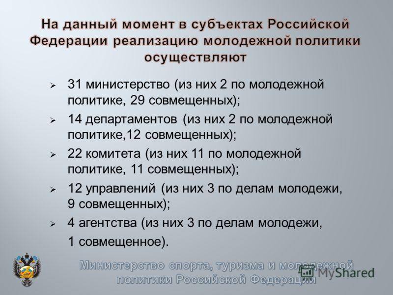 31 министерство (из них 2 по молодежной политике, 29 совмещенных); 14 департаментов (из них 2 по молодежной политике,12 совмещенных); 22 комитета (из них 11 по молодежной политике, 11 совмещенных); 12 управлений (из них 3 по делам молодежи, 9 совмеще