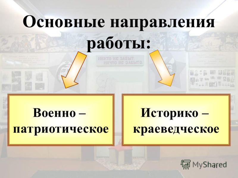 11 Основные направления работы: Военно – патриотическое Историко – краеведческое