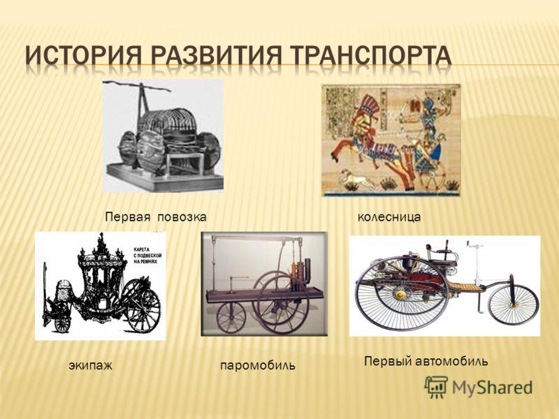 Первая повозка колесница экипажпаромобиль Первый автомобиль
