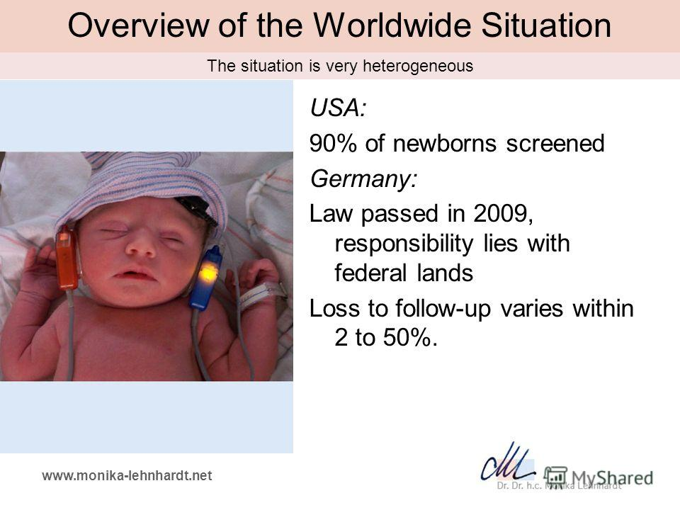 www.monika-lehnhardt.net Overview of the Worldwide Situation USA: 90% of newborns screened Germany: Law passed in 2009, responsibility lies with federal lands Loss to follow-up varies within 2 to 50%. The situation is very heterogeneous