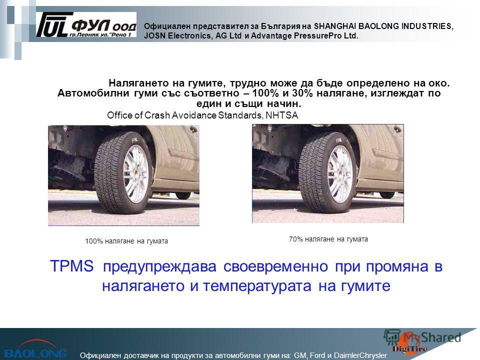 Официален представител за България на SHANGHAI BAOLONG INDUSTRIES, JOSN Electronics, AG Ltd и Advantage PressurePro Ltd. Официален доставчик на продукти за автомобилни гуми на: GM, Ford и DaimlerChrysler Налягането на гумите, трудно може да бъде опре