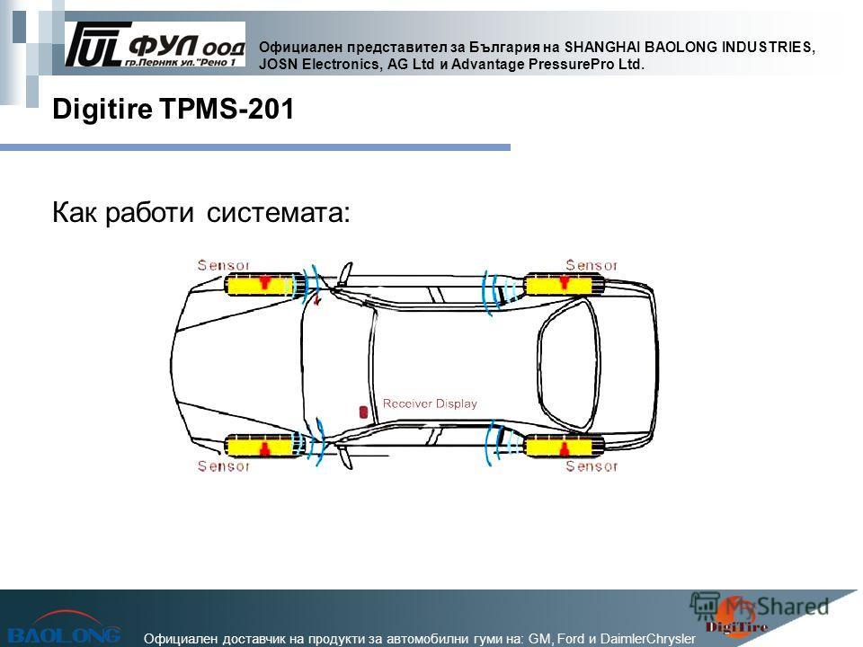 Официален представител за България на SHANGHAI BAOLONG INDUSTRIES, JOSN Electronics, AG Ltd и Advantage PressurePro Ltd. Официален доставчик на продукти за автомобилни гуми на: GM, Ford и DaimlerChrysler Digitire TPMS-201 Как работи системата: