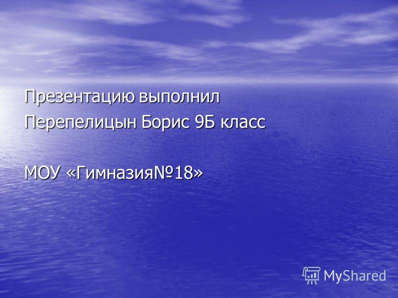 Презентацию выполнил Перепелицын Борис 9Б класс МОУ «Гимназия18»
