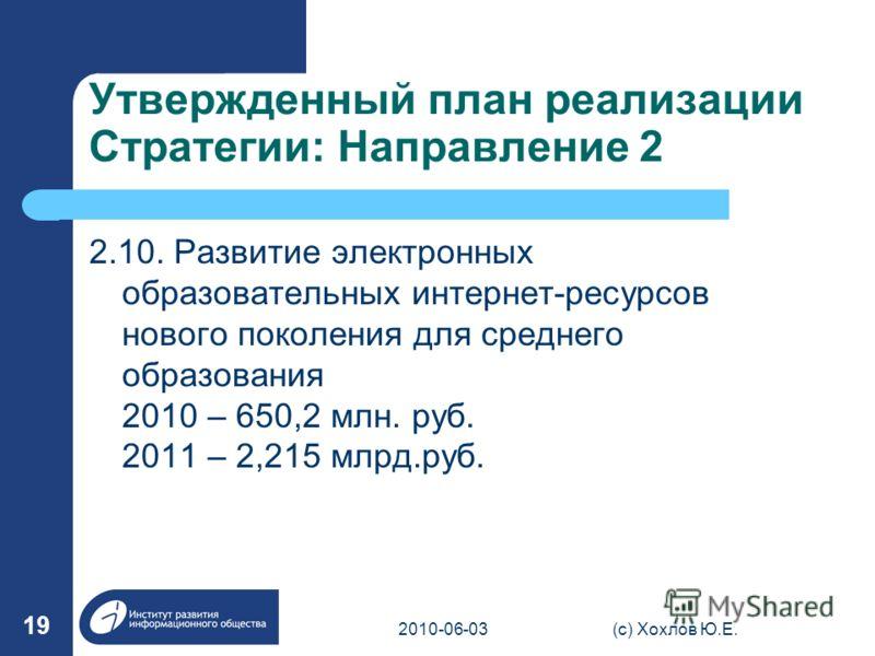 Утвержденный план реализации Стратегии: Направление 2 2.10. Развитие электронных образовательных интернет-ресурсов нового поколения для среднего образования 2010 – 650,2 млн. руб. 2011 – 2,215 млрд.руб. 2010-06-03(с) Хохлов Ю.Е. 19