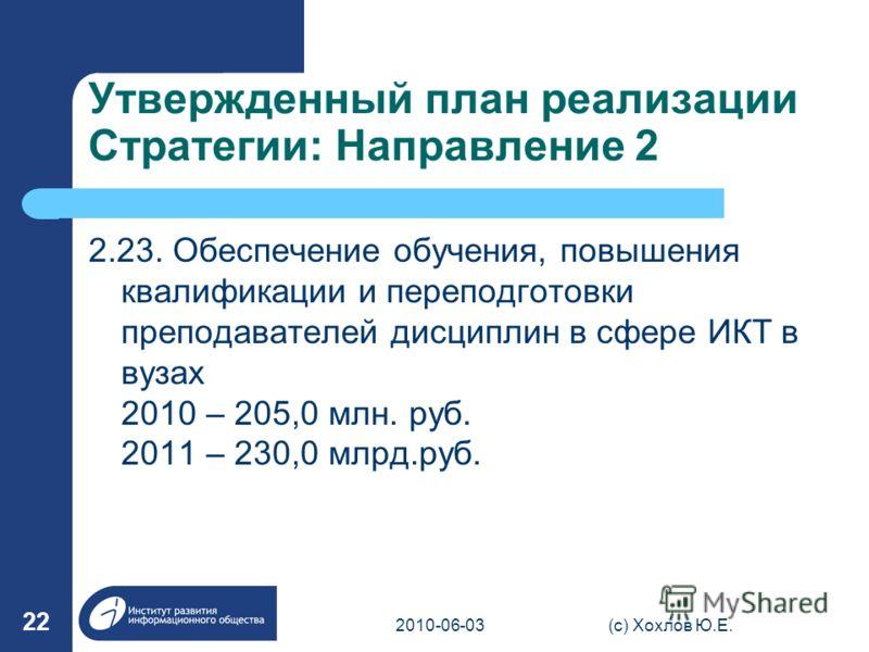 Утвержденный план реализации Стратегии: Направление 2 2.23. Обеспечение обучения, повышения квалификации и переподготовки преподавателей дисциплин в сфере ИКТ в вузах 2010 – 205,0 млн. руб. 2011 – 230,0 млрд.руб. 2010-06-03(с) Хохлов Ю.Е. 22