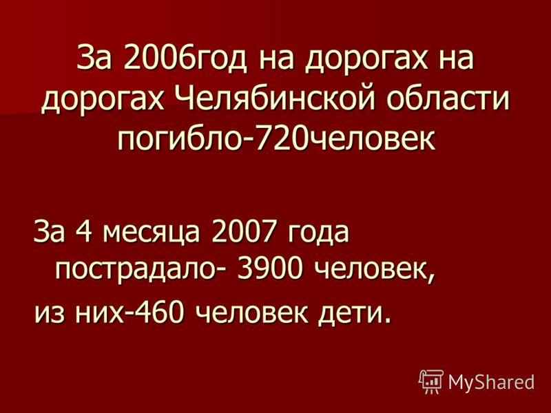 За 2006год на дорогах на дорогах Челябинской области погибло-720человек За 4 месяца 2007 года пострадало- 3900 человек, из них-460 человек дети.